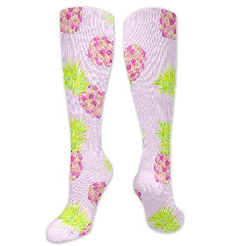 Graduated Football Socks Athletic Tube Stockings - Pink Pineapple Mini Mid-Calf - Mid Mini Sock