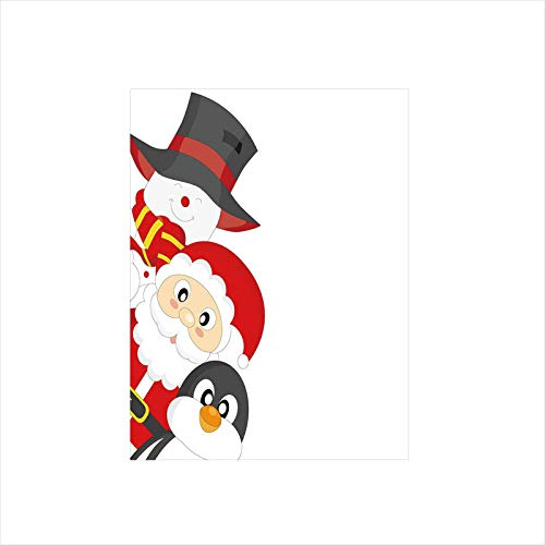 Decorative Privacy Window Film/Friendly Happy Santa Claus Penguin Snowman Festive Holiday Design Decorative/No-Glue Self Static Cling for Home Bedroom Bathroom Kitchen Office Decor Charcoal Grey Red W ()