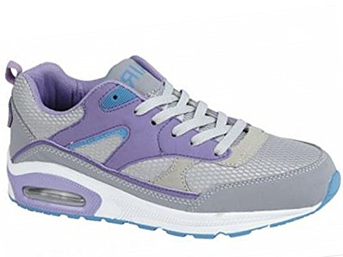 Ladies Running Trainers Air Tech Shock Absorbing Fitness Gym Sports Shoes Size 4 - 8 LTGrey/Purple 0I1ac84u