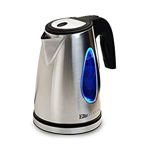 Elite Platinum EKT-1271 Ultimate 1.7 Liter Electric Water Tea Kettle – Stainless Steel Design, Handy Auto Shut-Off Function – Quickly Boil Water For Tea & More