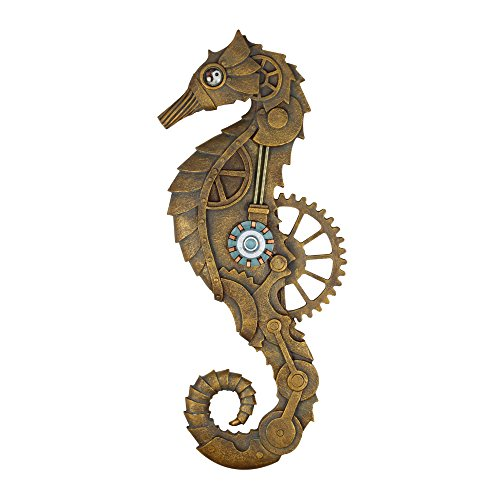 Steampunk Seahorse Decor Wall Plaque Hand Painted Decorative Arts 22 Inches