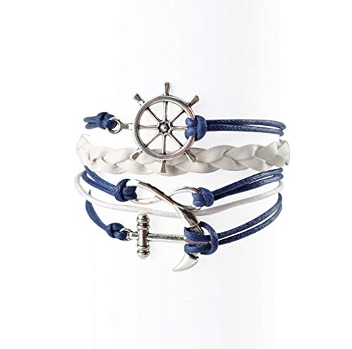 BLUETOP Nautical Bracelets for Women Navy Rudder Anchor Braided Weave Leather Rope Leisure Bracelet Style Collection -
