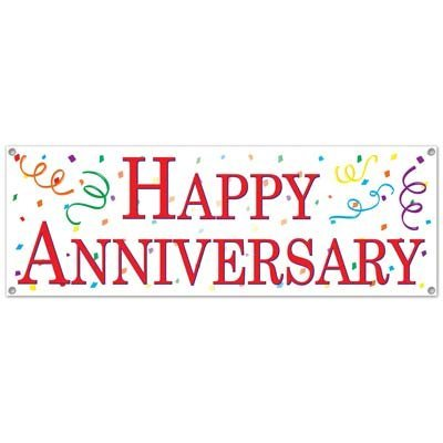 Happy Anniversary Sign Banner Party Accessory (1 count) (1/Pkg)
