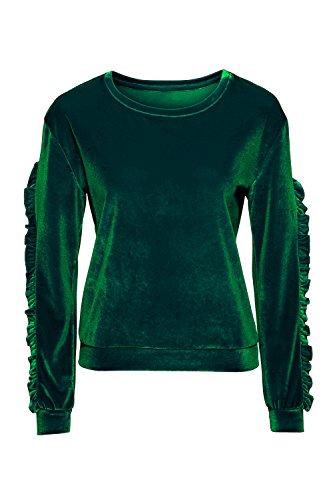Un Scoop Cou Froisser Les Velours Solide Tunique Sweat - Shirt Idiot Green M