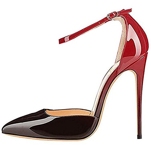 Lovirs Womens Red-Black High Heel Pointed Toe Ankle Strap Stiletto Pumps Wedding Basic Shoes 9.5 M US