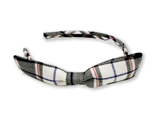 Mia Fashion Headband with Bow, Black and White Classic Plaid Material, for Women, Girls, Students 1 pc