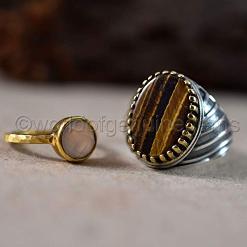- wedding couple ring, arabic designer tiger eye and hammered rose quartz, solid 925 sterling silver ring, oval shape cabochon and round shape checker cut vermeil designer ring