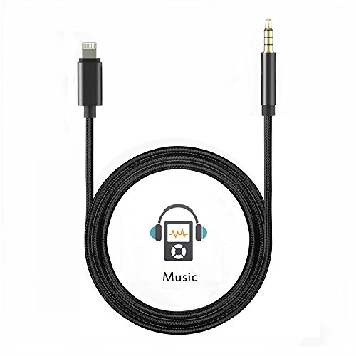 iPhone Aux Cord Adapter for Car - Bemaxy Lightning to 3.5 mm Male Headphone Jack Adapter for Apple iPhone 7 / 7 Plus, Support Apple iOS 10.3 System (3.3Ft/1M) (Cooper Cord)