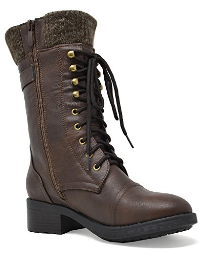 DREAM PAIRS Damen Winter Kunstpelz gefütterte Kragen Gummi Outsole Snow Ankle Boots Booties Brown-a