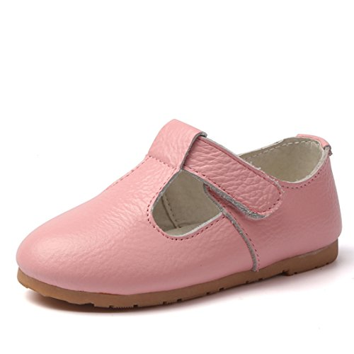 MIGO BABY Child's Gril's Leather T-Shaped Strap Oxford Shoes School Dress Princess Mary Janes Shoes Pink