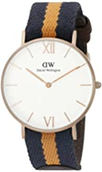 Daniel Wellington Unisex 0554DW Grace Selwyn Rose Gold-Tone Stainless Steel Watch with Striped Nylon Band