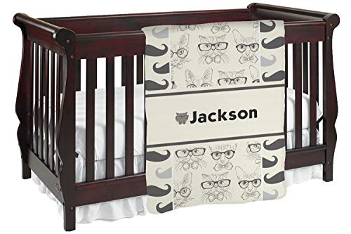 Hipster Cats & Mustache Baby Blanket (Double Sided) (Personalized)
