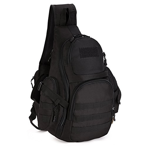 X-Freedom Tactical Sling Chest Pack Military Chest Bag Shoulder Sling Backpack MOLLE Large Sling Bag One Strap Backpack Capacity Crossbody Bag For Laptops Hiking Camping Hunting Trekking, Black