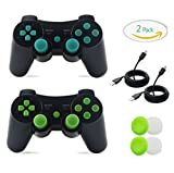 PS3 Controller, 2 Pack Wireless Bluetooth Gamepad Double Vibration Six-Axis Remote Joystick for Playstation 3 with Charging Cord (Green + Blue)