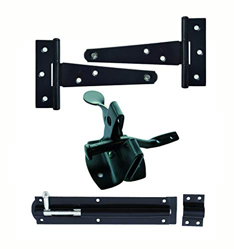 keypak 051219N Classic Shed Gate Hardware Kit, Fingertip Release Latch, 2X Hinges, 1x TowerBolt, Black (Furniture Uk Conservatory Sets)