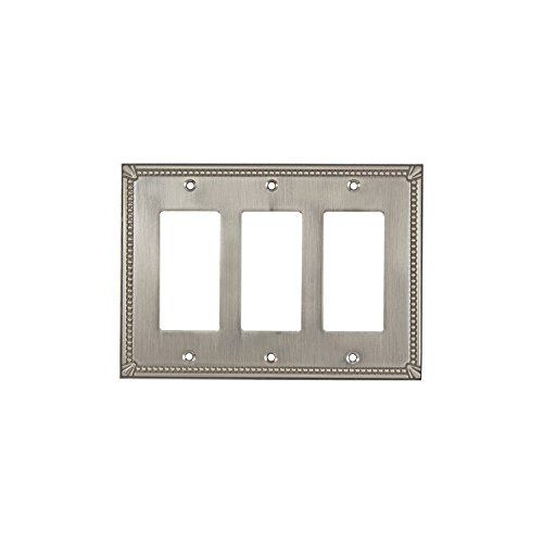 Rok Hardware Wall Light Decora Switch Plate Rocker Toggle GFCI Cover Traditional Brushed Nickel 3 Gang - Brushed Nickel Triple Rocker