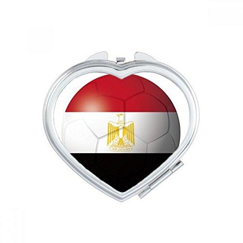 DIYthinker Egypt National Flag Soccer Football Heart Compact Makeup Mirror Portable Cute Hand Pocket Mirrors Gift by DIYthinker