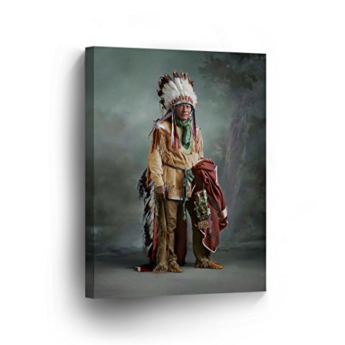 INDIAN WALL ART Portrait of a Native American with Brown Headdress Canvas Print Home Decor Decorative Artwork Gallery Wrapped Wood Stretched and Ready to Hang - %100 Handmade in the USA - 22x15