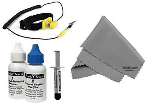 Arctic Silver 5 (Anti-Static Kit) - 3.5 Grams with ArctiClean 60 ML Combo Kit + Microfiber (7' X 6') Cleaning Cloth + Anti Static Wrist Strap