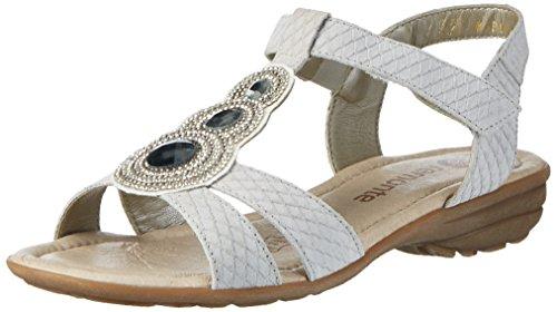 Remonte R3641, Sandalias con Cuña para Mujer Blanco (Kreide/champignon/80)