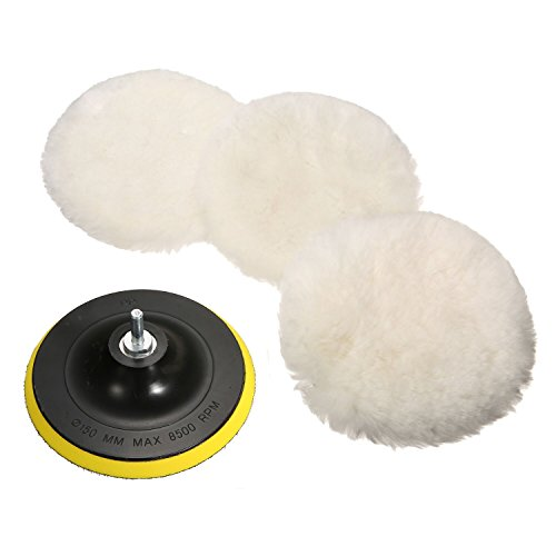 MATCC 5 Pcs 6 Inch Polishing Buffer Wool and Velcro Wheel Polishing Pad Woolen Polishing Waxing Pads Kits with M14 Drill Adapter