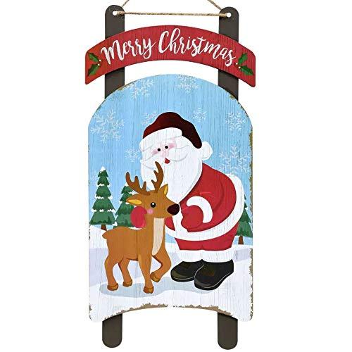 Christmas Decoration Celebrate A Holiday Wood Plank Design Hanging Sign Wall Decor Front Porch Balcony Outdoor Indoor Merry Xmas Home Door Apartment Party Art Plaque 15.5