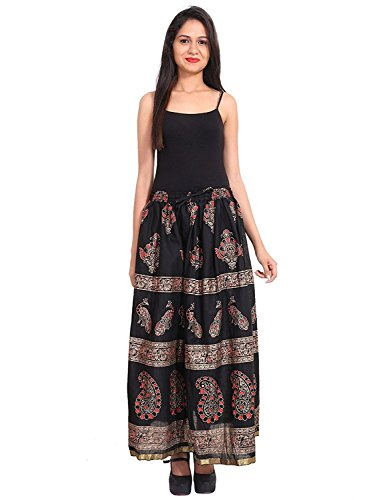 for Size Black Free Length Gold Handicrfats Indian 40 Long inches Printed Cotton Women Export Size Skirt w7EF8