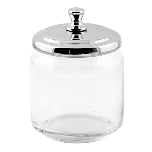 iDesign York Bathroom Vanity Glass Apothecary Jar for Cotton Balls, Swabs, Cosmetic Pads - Clear/Polished Lid