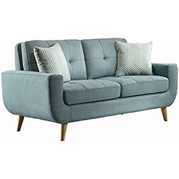 homelegance deryn midcentury modern loveseat with tufted back and two herringbone throw pillows teal