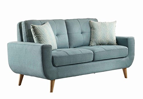 Homelegance Deryn Mid-Century Modern Loveseat with Tufted Back and Two Herringbone Throw Pillows, Teal