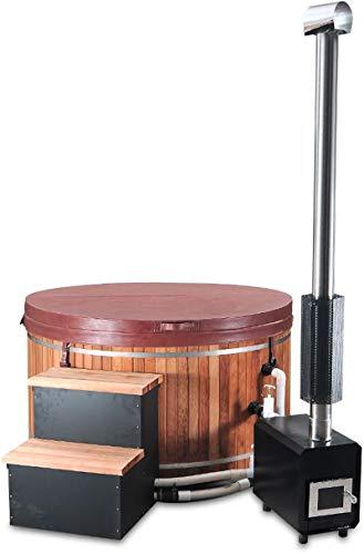Canadian Redwood Cedar 5' Outdoor Wood-Fired Hot Tub Sauna Spa Bathtub Tub, with Paddle
