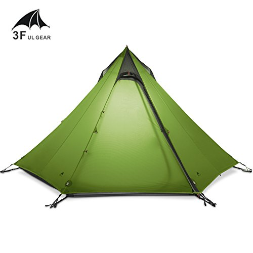 3F UL Gear Ultralight Outdoor Camping Teepee 15D Silnylon Pyramid Tent 2-3 Person Large Tent Waterproof Backpacking Hiking Tents (Green)