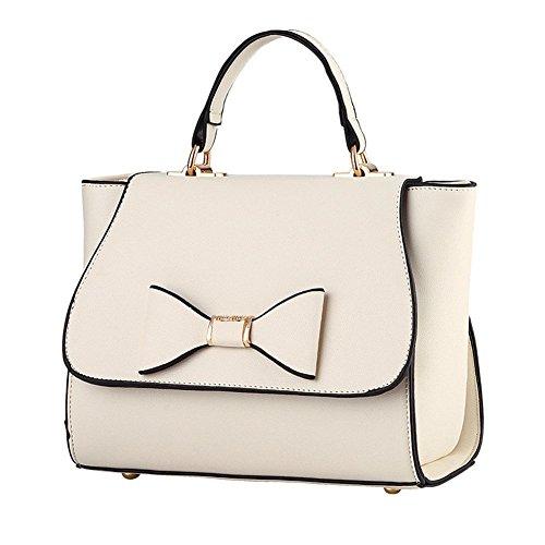 QCKJ-Lorenz-Borsa a tracolla da donna in ecopelle, con fiocco, colore: bianco