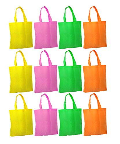Fabric Tote Bags With Handles - Colorful Bags For Party Favors - Set Of 12 Reusable Tote Bags