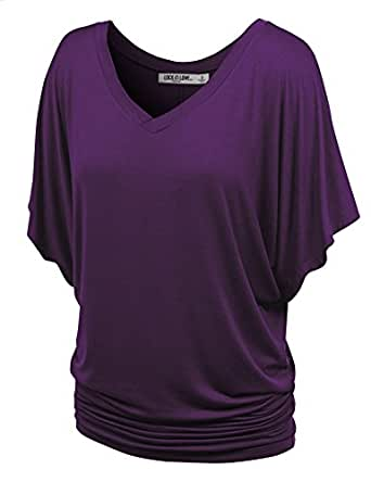Lock and Love WT1038 Womens V Neck Short Sleeve Dolman Top XS Dark_Purple