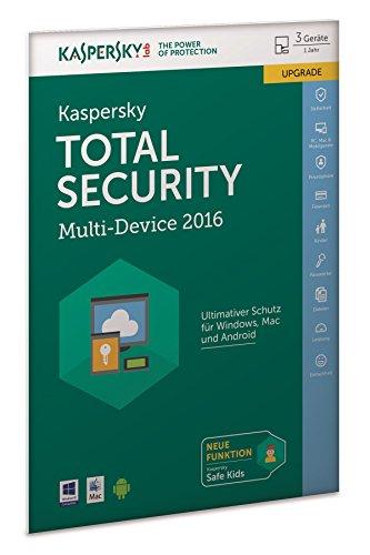 Price comparison product image Kaspersky Total Security Multi-Device 2016 Upgrade (FFP). Für Windows Vista / 7 / 8 / 10 / MAC / Android / iOS