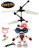 Space Aviator Flying Robots with Lights, Infrared IR Sensor Hovering Air Craft Rechargeable Toy Helicopter, USB Cable Included