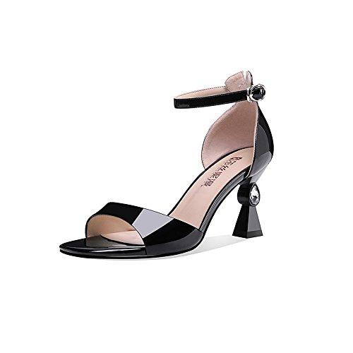 CN37 Open Et 5 4 taille Couleur UK 7cm DALL Femmes Vamp toed Talons 713 Pour Escarpins Printemps Noir 5 De Hauts Lisse 37 Sandales EU Chaussures Ly Noir Été Haut 46qfw48