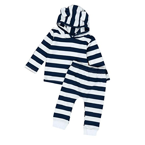 2 Pcs/Set Toraway Clothes Sets Suit Newborn Toddler Baby Boys Stripe Hood Tops + Pants Clothes Outfits (0-6 Month, (Hood Top Pants)