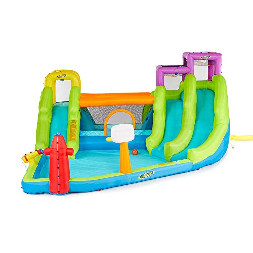 Riptide Triple Fun Inflatable PVC Water Park with 3 Slides & Obstacle ()