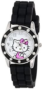 Sanrio Hello Kitty Women's HKAQ5380 Rhinestone Bezel Watch With Black PU Band