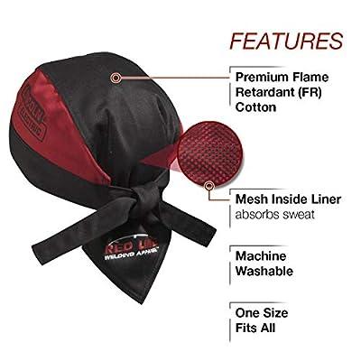 Lincoln Electric K2993-ALL Welding Doo Rag | Flame Resistant (FR) | Mesh Inside Liner | Black & Red |