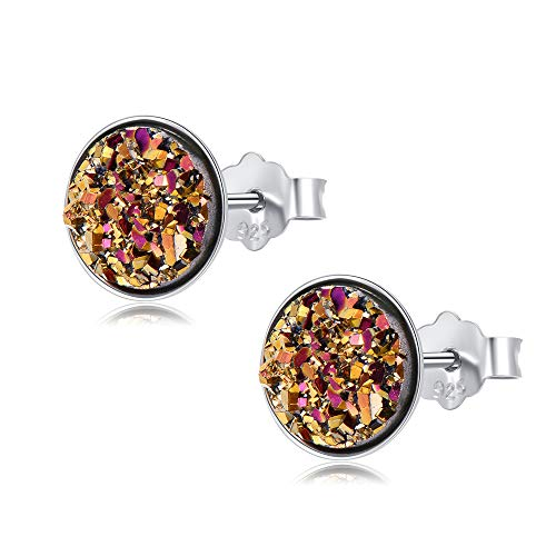 EVERU Sterling Silver Round Druzy Stud Earrings,