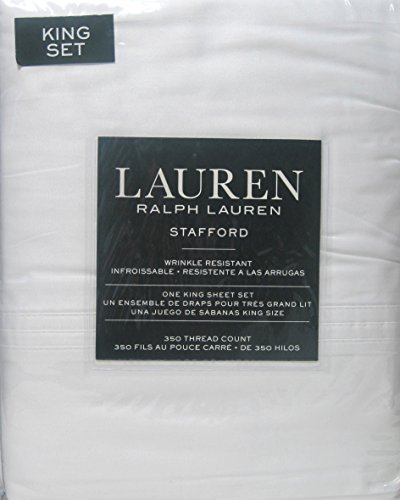 Lauren by Ralph Lauren Stafford 4pcs White Sheet Set Wrinkle