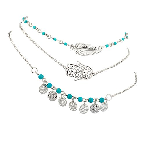 (Lux Accessories Silver Tone Turquoise Bead Hamsa Evil Eye Leaf Feather BFF Best Friends Forever Anklet Set (3 PC))