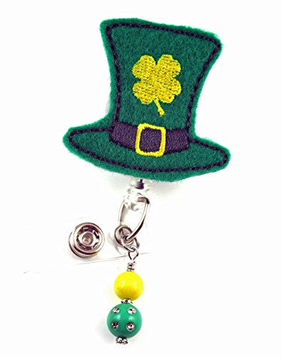 St Patrick's Day Hat Gold Clover- Nurse Badge Reel - Retractable ID Badge Holder - Nurse Badge - Badge Clip - Badge Reels - Pediatric - RN - Name Badge Holder