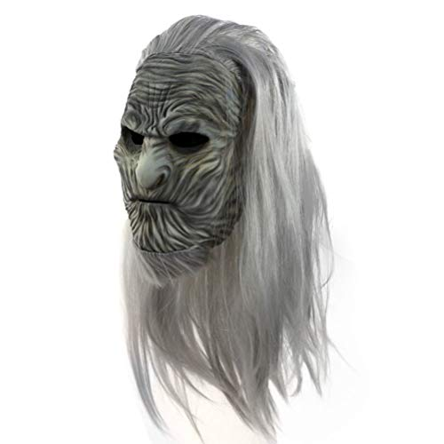 NECHARI Halloween Natural Latex Zombie Mask Cosplay Costume Party Mask Grey -
