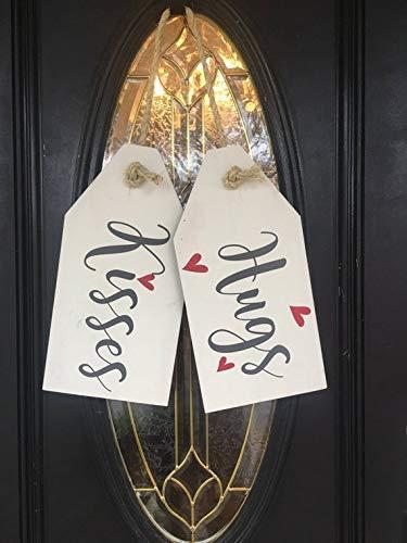 kanwa Valentine Day Door Wreath, Door Hanger, Home Decor, Valentine Decor, Wood Signs, Door Tags, Valentine Wood Sign, hugs and Kisses, Love (Door Hanger Valentines)