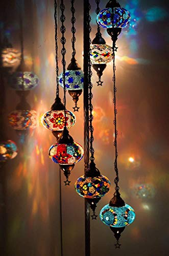 Turkish Moroccan Mosaic Floor Lamp Light, 7 Globes