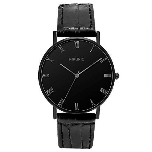 (AIKURIO Women Wrist Watches Analog Quartz 30M Waterproof with Leather Strap and Ultra-Thin Case AKR009 (Black case Silver Word) )